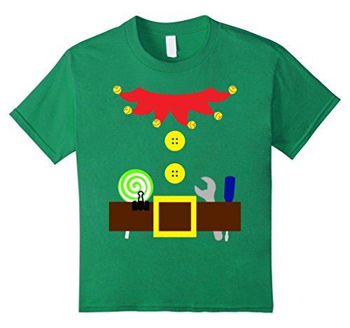 Gnome Costume Diy Girl (Kids Santa Elf Gnome Costume Outfit Belt Tool Shirt Lollipop 12 Kelly Green)