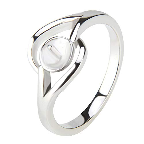 NY Jewelry Sterling Silver Simple Elegant Rings for Pearl DIY Jewelry Making, Pearl Ring Mounts/Fittings/Accessories for Women in Size 6/7/8/9/10 (Pearl Ring Mount)