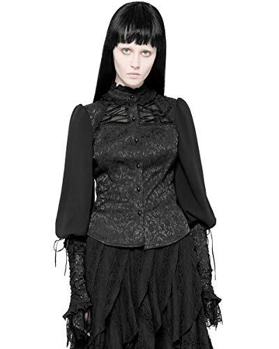 Negro Steampunk Blusa Punk Victoriano Top Womens Vintage Gótico Jacquard Encaje Rave wx1q8pX