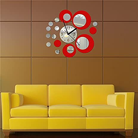 Amazon.com: Acrylic Clock Design Mirror Effect Mural Wall Sticker ...