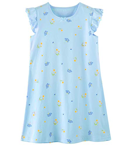 Cotton Print Nightgown - Auranso Girls' Princess Nightgowns Heart Print Sleepwear Flower Blue 6-7 Years