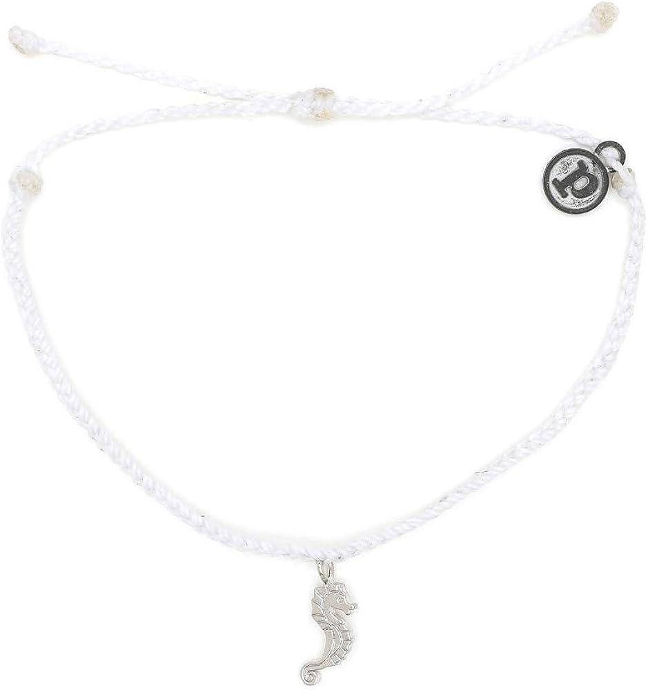 Pura Vida Silver Seahorse Bracelet - Waterproof, Artisan Handmade, Adjustable, Threaded, Fashion Jewelry for Girls/Women