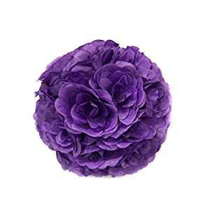 Ben Collection Fabric Artificial Flowers Kissing ball 10 Inch Purple 5