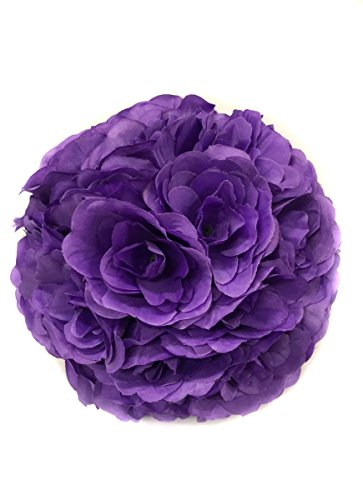 Ben Collection Fabric Artificial Flowers Kissing ball 10 Inch Purple