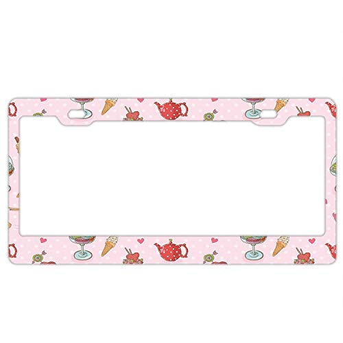 Gndishangd Personality License Plate Frame Retro Cupcakes Teapots Candies Cookies on Polka Dots Aluminum License Plate, Front License Plate