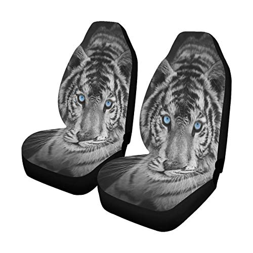 - INTERESTPRINT White Tiger Cool Animal Car Seat Covers Set of 2 Vehicle Seat Protector Car Covers for Auto Cars Sedan SUV