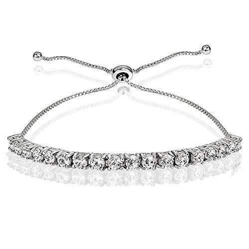 Genuine Sapphire Tennis Bracelet (Sterling Silver 3mm Round Created White Sapphire Adjustable Pull-string Bolo Tennis Bracelet)