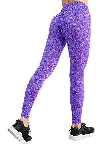 CHRLEISURE Workout Leggings for Women - High Waisted Leggings with Scrunch Butt, Push Up, V Shape Waist Leggings Purple - Set Butt Bikini Scrunch