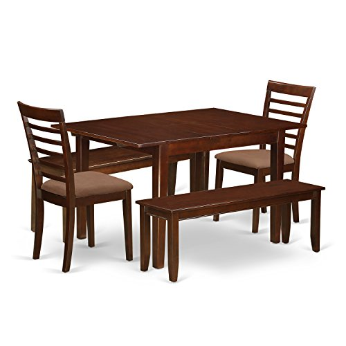 East West Furniture MILA5D-MAH-C 5 Piece Small Dining Tables and 2 Chairs with Wood Seat Plus 2 Benches Set