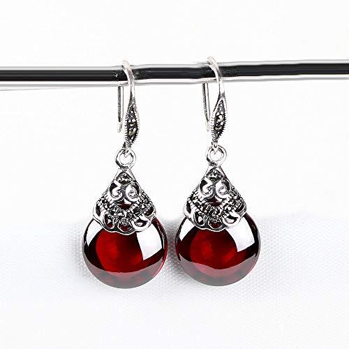 - Women's 925 Sterling Silver Retro Round Ruby   Garnet Pendant Earrings, Hook Earrings, January Birthstone, Gift Box.