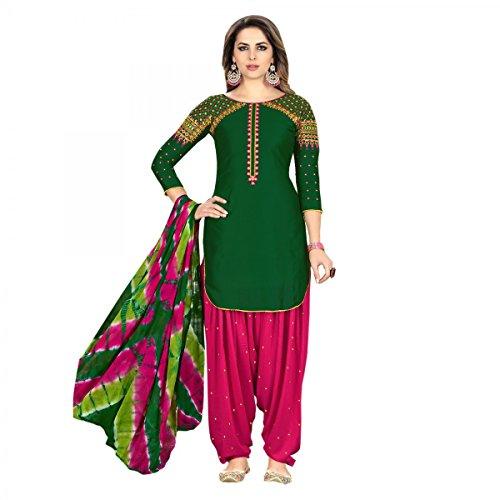 - Delisa Ready Made Patiala Salwar Embroidered Cotton Salwar Kameez Suit India/Pakistani Dress (Green, X-LARGE-44)
