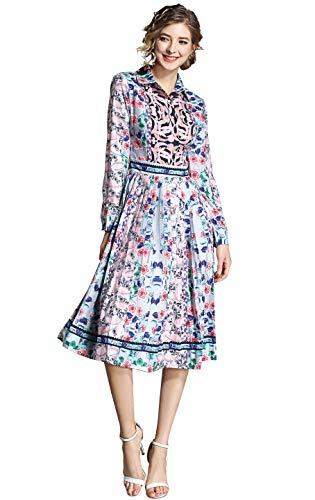LAI MENG FIVE CATS Women's 3/4 Sleeve Floral Print Button up Casual A-line Party Swing Midi Dress ()