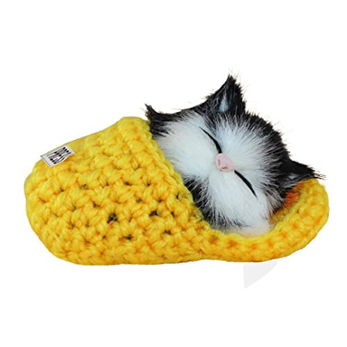 Sleeping Cat Toy   Livoty In Stock Simulation Cat Vocalize Meow Meow Slippers Kitten Plush Toys Doll  Yellow