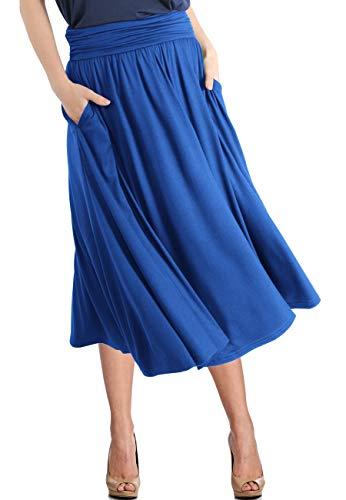TRENDY UNITED Women's Rayon Spandex High Waist Shirring Flared Pocket Skirt (S0030-RBLU, S) ()