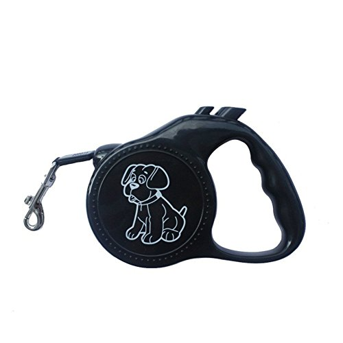3M Automatic Retractable Led Dog Collar Correa Perro Pitbull Pet Traction Rope Dog Necklace Collar Led Perro Dog (Black) (Perros Pitbull)