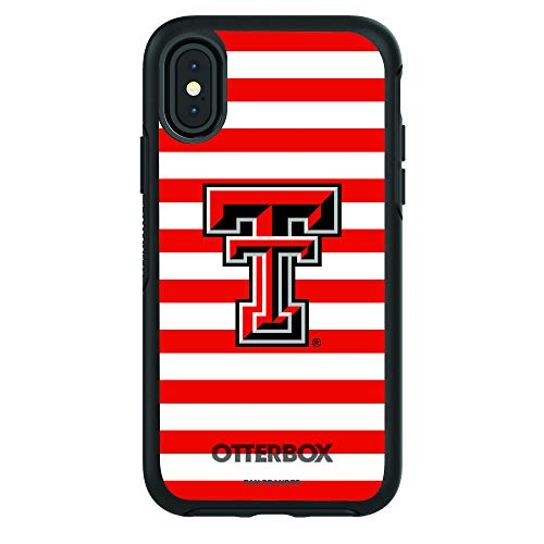 Fan Brander Compatible NCAA iPhone X/Xs OtterBox Symmetry Series Case with Stripes Design (Texas Tech Red Raiders) ()