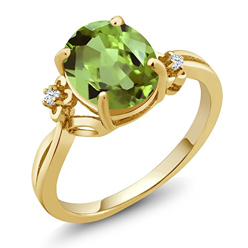 14k White Gold Green Sapphire - 3.03 Ct Oval Green Peridot White Created Sapphire 14K Yellow Gold Ring (Size 7)