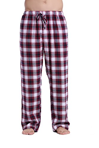 CYZ Men's 100% Cotton Super Soft Flannel Plaid Pajama Pants-WhiteRedNavy-M