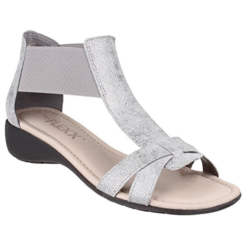Band Sandal Flexx Womens Silver Cosmic Elasticated Together Ladies The 0OtqwxBB