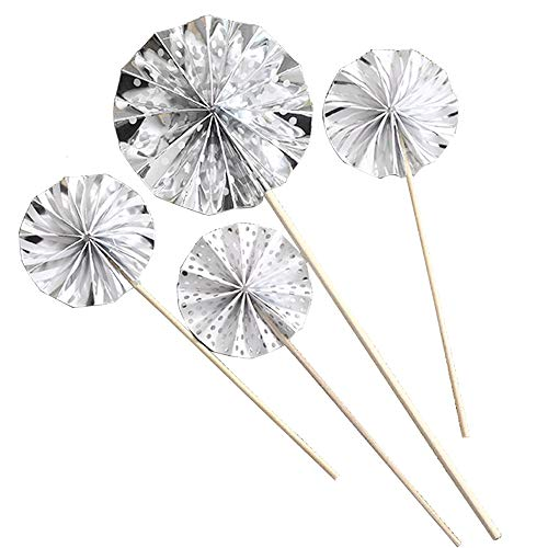 12Pcs Cupcake Toppers Silver Circle Fan Flowers Cake Toppers Muffin Decor Fun Cake Toppers Picks Mini Birthday Cake Decoration for Baby Boys Girls Kids Birthday Party and Wedding Supplies