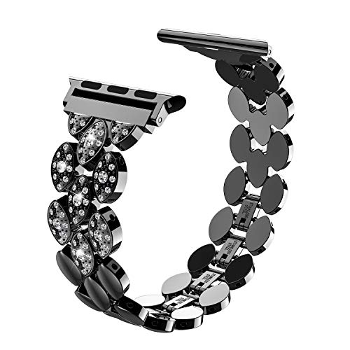 Wearlizer Black Womens Compatible Apple Watch Band 38mm 40mm iWatch Exclusive Beauty Corn-Block Wristband Stainless Steel Luxury Rhinestone Replacement Metal Strap Bracelet Series 4 3 2 1 Edition