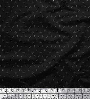 Soimoi Negro Batista De Algodón Tela dirección de la brújula, el cráneo y el gancho de anclaje tela de camisa tela estampada de por metro 56 Pulgadas de ancho: Amazon.es: Hogar