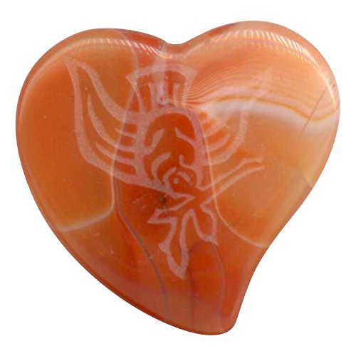 MP/A/Dove Magic Stone Amber Agate Heart Shaped Pick with Dove Engraving ()