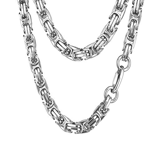 - Jewelry Kingdom 1 Necklace for Men Silver Stainless Steel Chain Necklace, Byzantine Link, Heavy and Mechanic Style Necklace for Bikers and Boys, Width 15mm, Length 24, 30, 36inches Optional (24inches)