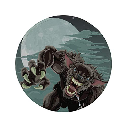Non-Slip Rubber Round Mouse Pad,Wolf,Night Skyline with Full Moon and Stars Werewolf Attacking Position Ravenous Being Decorative,Multicolor,11.8