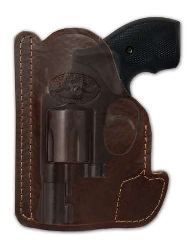 Barsony Brown Leather Gun Concealment Pocket Holster for Ruger LCR 38 357