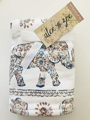 Elephant Parade Set of 2 Hand Towels Bathroom 100% Ultra Absorbent Cotton Browns Blues by Alex & Zoe (Dishes Elephant)