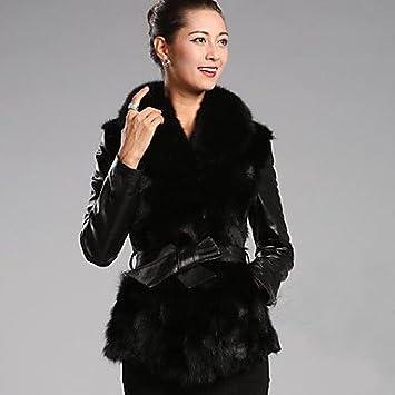 pu & sintética elegante eco-peletería de las mujeres Sergent & sintética abrigo, BLACK