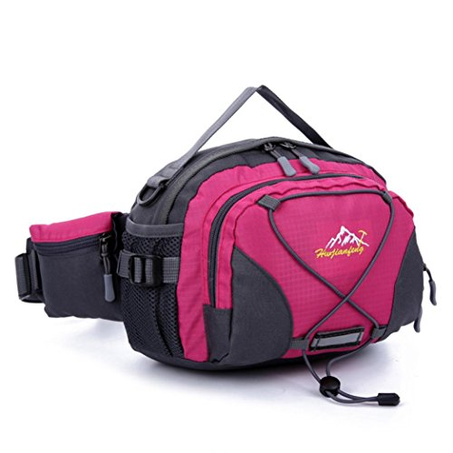 Han Shi- Sports Bag, Waterproof Running Belt Bum Waist Pouch Fanny Pack Camping Sport Hiking Shoulder Bag (Hot Pink)