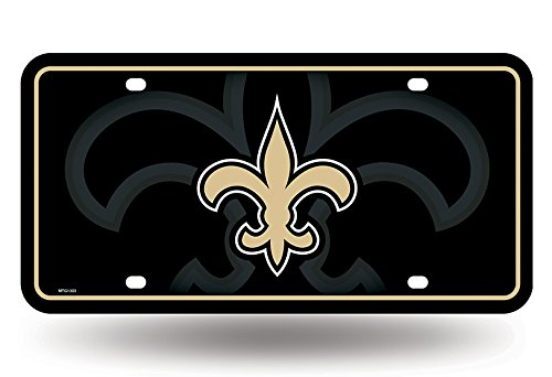 Rico Industries NFL New Orleans Saints Metal License Plate Tag, 6