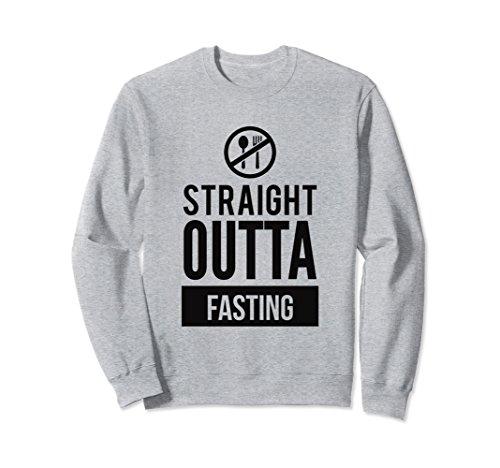 Unisex Straight Outta Fasting Funny Dieting Slogan Sweatshirt 2XL Heather Grey