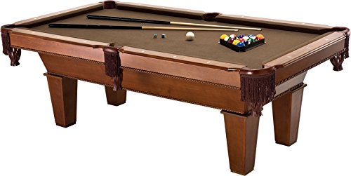 Fat Cat Frisco 7.5' Pool Table with Classic Style Billiard Pockets and Contemporary Straight Legs, Oak Finish with Bronze Colored Cloth Playing Surface ()