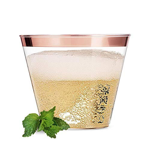 Rose Gold Party Cups (70-pc), 9 oz Clear Plastic Cups with Rose Gold Rims, Durable Rose Gold Rim Plastic Cups, Holiday Partyware, Elegant Disposable Cups for Wedding Birthday & Special Occasions