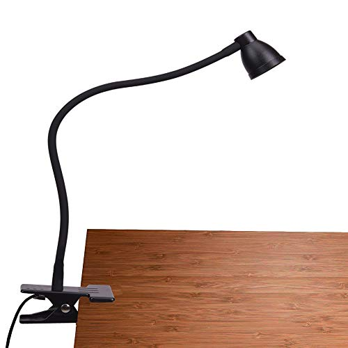 PSIVEN Clip on Light, Dimmable Clamp Desk Lamp (3000-6500K Adjustable Color Temperature, Eye Care, UL Listed AC Adapter) LED Clip Reading Light for Headboard, Bedside, Desk, Office, Workbench