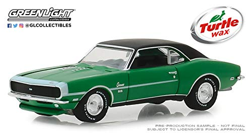 Greenlight 1968 Chevrolet Camaro RS/SS Green with Black Top Lasting Diamond Brilliance Turtle Wax AD Cars 1/64 Diecast Model Car -