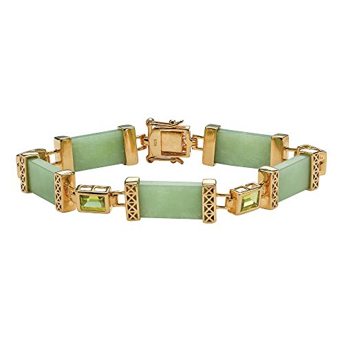 Emerald-Cut Genuine Peridot and Green Jade Gold-Plated .925 Sterling Silver Bracelet 8