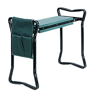 SONGMICS Foldable Kneeler and Garden Seat Portable Stool with EVA Kneeling Pad and Tool Pouch UGGK49L