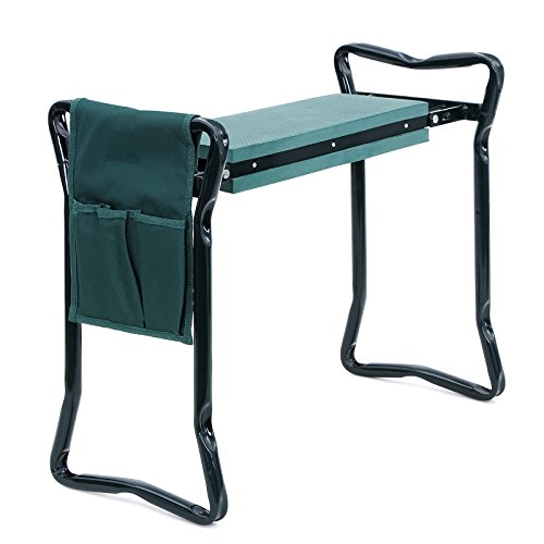 SONGMICS Garden Kneeler Seat with Upgraded Large Tool Pouch and Soft Kneeling Pad Foldable Stool UGGK49L by...