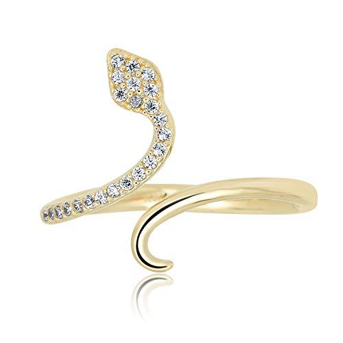 10K Yellow Gold Simulated Diamond CZ Snake Wrap Fashion Ring