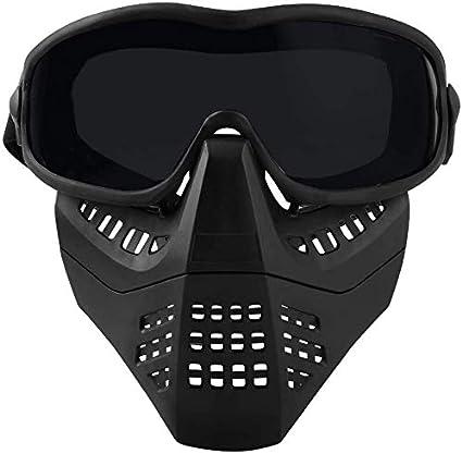 Masque de Fourmi de Paintball Tactique dAirsoft Demi-Masque de Casque dAirsoft avec des Lunettes de Protection Amovibles