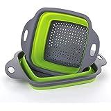Pieghevole Collapsible Kitchen Colander 2 pezzi piazza pieghevole lavaggio ciotola Set di filtri in silicone Filtro cestello 2 dimensioni (Verde)