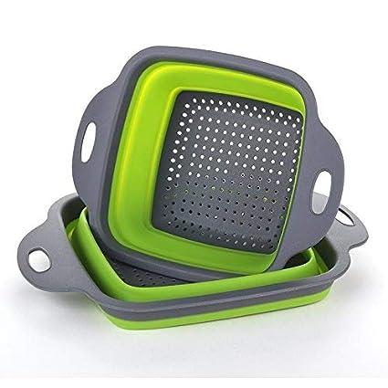 Colador plegable de la cocina plegable 2 piezas cuadradas Lavabo plegable  para arriba Tazón de fuente e87c31f5a866