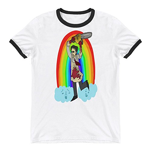 Leatherface Texas Chainsaw Massacre Rainbow Unicorn Halloween Funny Horror Cult Film Cool Movies Printed Designs Ringer (Saw Outfit Halloween)