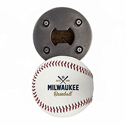 Arizona Bottle Opener, Made from a real Baseball, The BaseballOpener, Cap Catcher, Fridge Magnet Buffalo BottleCraft COMIN18JU075025