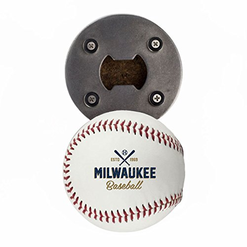 Milwaukee Bottle Opener, Made from a real Baseball, The BaseballOpener, Cap Catcher, Fridge Magnet