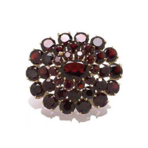 Gioie Broche Femme en Or 18 carats Jaune avec Grenat, 12 Grammes